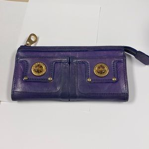 Marc Jacobs Totally Turnlock Purple Leather Wallet